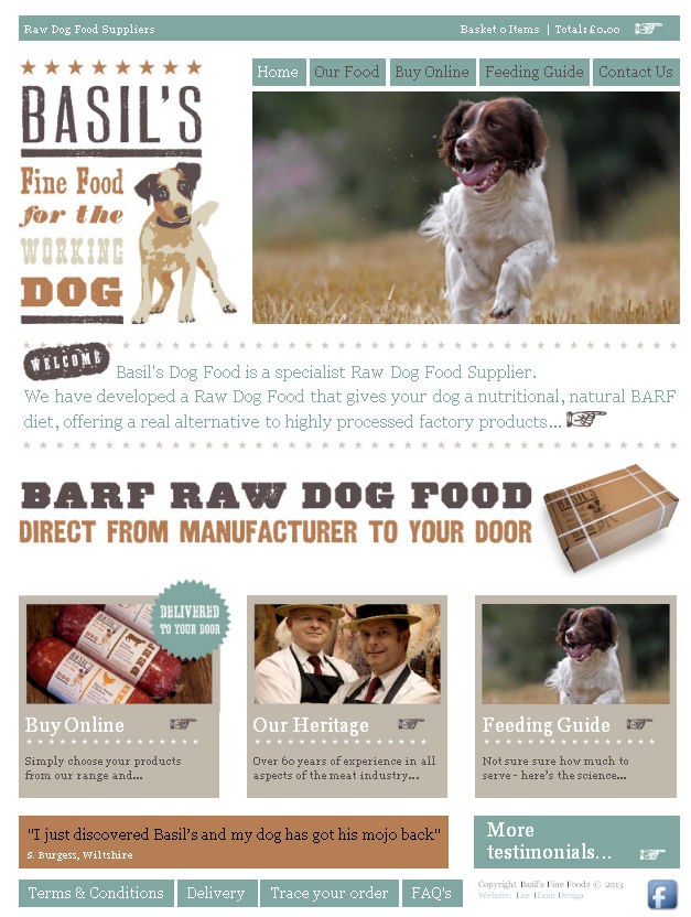 Picture of the website of Basils Dog Food