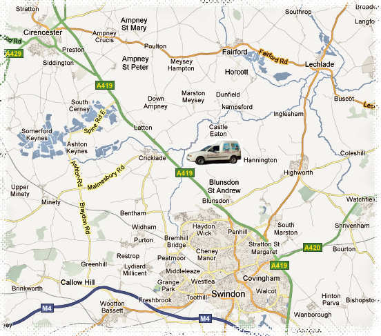 Map showing the area covered by our Pet Taxi